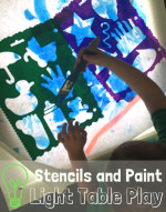 Light Table – Invitation to Play with Paint and Stencils