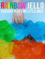 Rainbow Jello Sensory Play for Babies and Toddlers