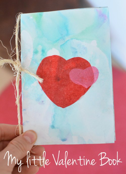 My Little Valentine Book with Marbled Milk Paper and Tissue Paper