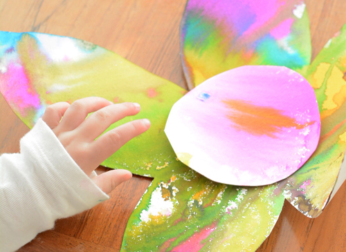 Spring watercolor flower art for toddlers