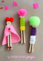 Pom Pom Wooden Peg Dolls