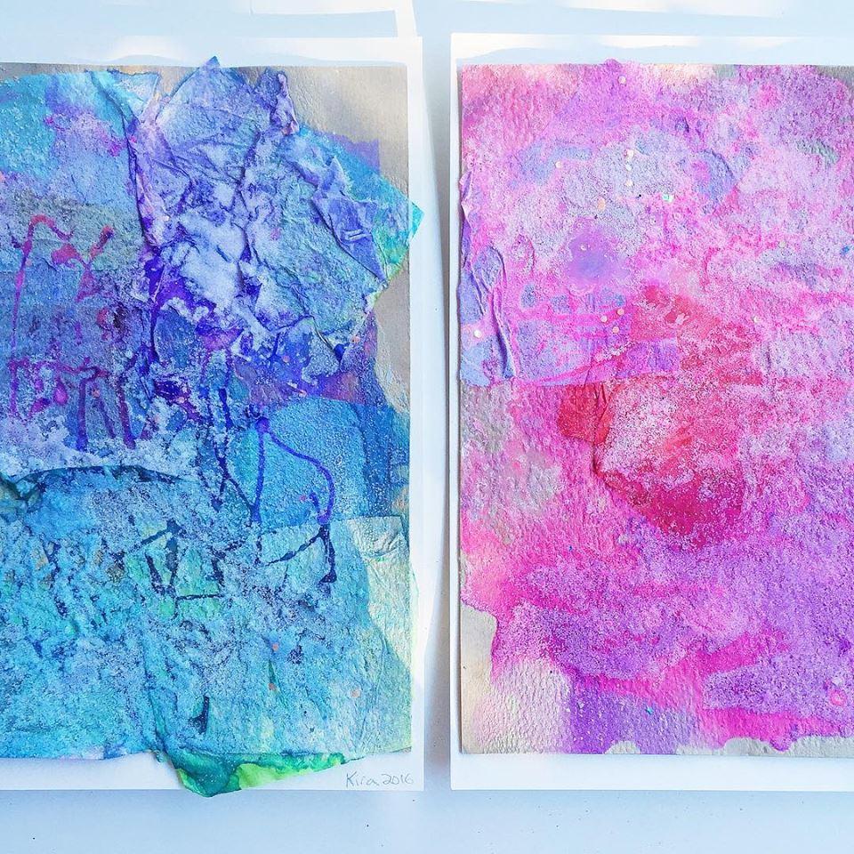gorgeous salt painting process art for kids