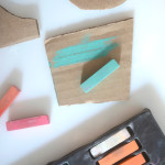 Recycled shape garland you make with different art materials for kids
