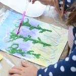 salt painting process art for kids