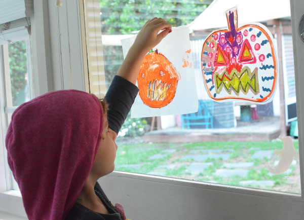 Simple Halloween Art Activity for Kids - Pumpkin Suncatchers