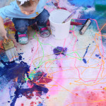 Modern art for your living room made my toddlers - Toddler made art mural
