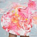 Shaving Cream Splatter Paint Hearts