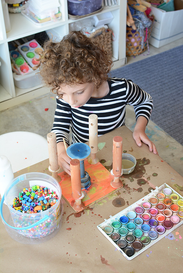 Art studio for kids - Love this peek into an art teachers home studio.